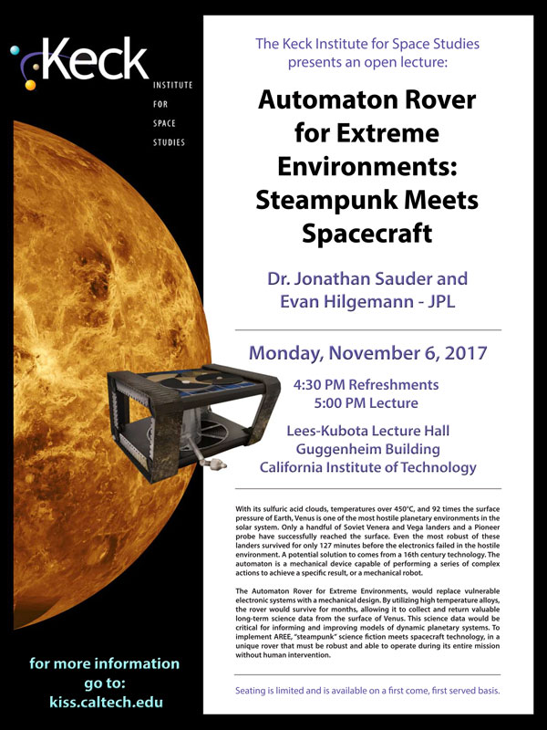 Automaton Rover for Extreme Environments: Steampunk Meets Spacecraft