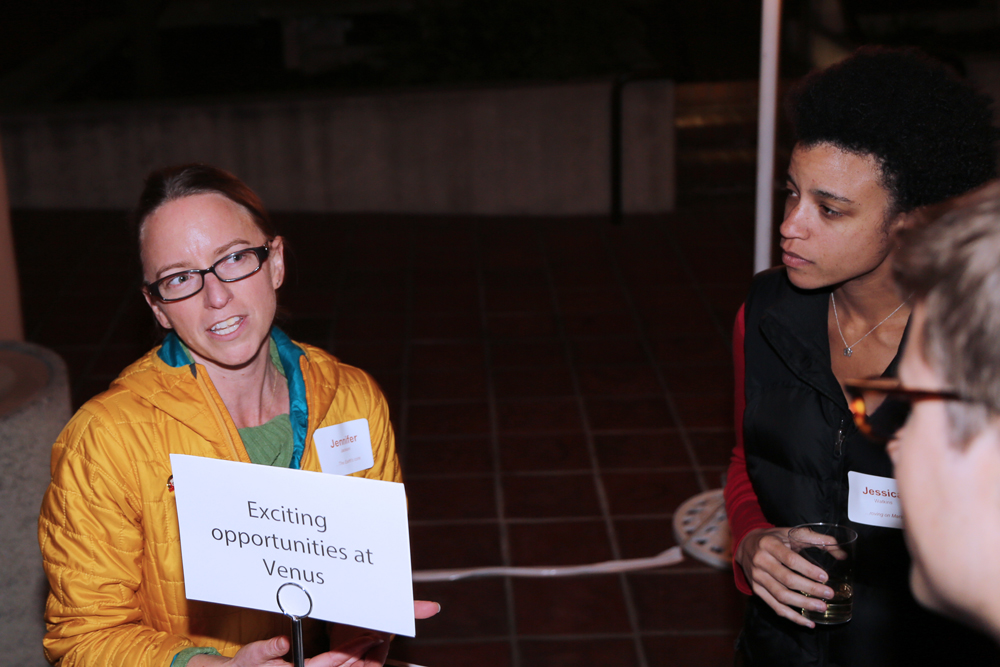 Description: Networking at the 2015 Space Connection: Jennifer Jackson, Jessica Watkins (GPS Chair's Postdoctoral Scholar; AGEP Fellow), and future Venusians