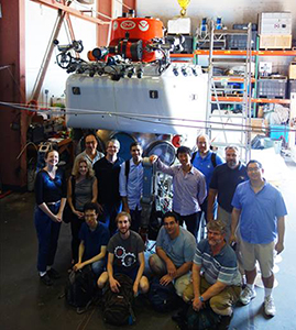 Project team at WHOI with Alvin 2, the WHOI submersible in August 2015